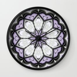 Silver Grey and Lilac Purple Heart Floral Kaleidoscope Wall Clock