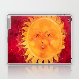 Digital painting of a chubby sun with a funny face Laptop & iPad Skin