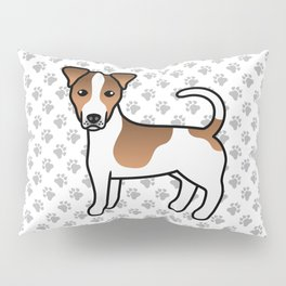 White And Tan Smooth Coat Jack Russell Terrier Dog Cute Cartoon Illustration Pillow Sham