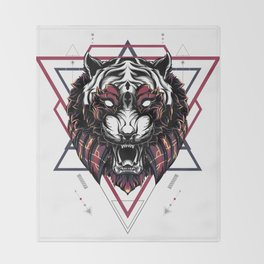 The Mythical Tiger sacred geometry Throw Blanket