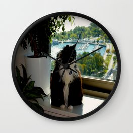 Contemplating Cat (Gracie Queen of Chicago Collection) Wall Clock