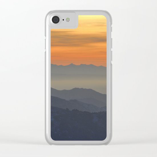Mountains. Foggy sunset Clear iPhone Case