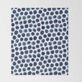 Large Indigo/Blue Watercolor Polka Dot Pattern Throw Blanket