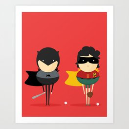 Bat-man & Robin: Heroes and super friends! Art Print