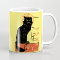 noir Mugs featuring Loup Noir by Hillary White