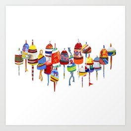 17 Buoys Art Print