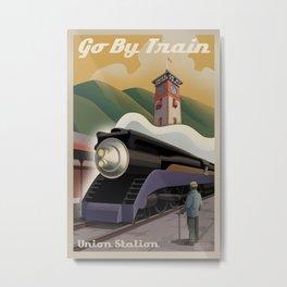 Vintage Union Station Train Poster Metal Print