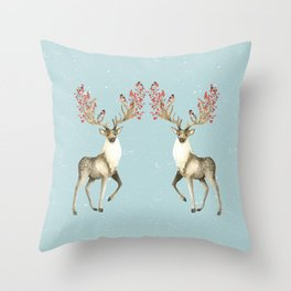 Deers With Birds #society6 #buyart Throw Pillow