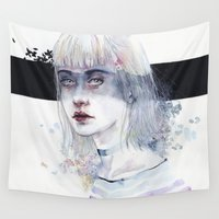 goddess Wall Tapestries featuring Blindfolded Goddess by agnes-cecile