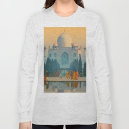 Morning Mist in Taj Mahal Vintage Beautiful Japanese Woodblock Print Hiroshi Yoshida Long Sleeve T-shirt