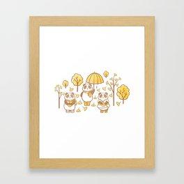 Pandas and ginkgo Framed Art Print