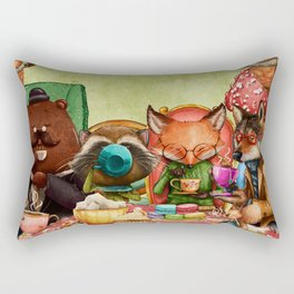 Woodland Friends at Teatime in Forest Rectangular Pillow