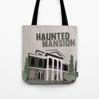 haunted mansion Tote Bags featuring new Orleans square.. haunted mansion by studiomarshallarts