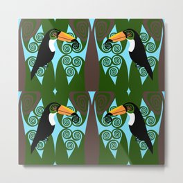 Toucan Pair Paisley Pattern Metal Print