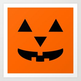 """Bozo"" Jack O'Lantern - Halloween, Pumpkin, Orange, Black Art Print"