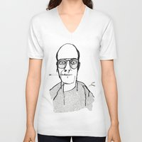 hunter s thompson V-neck T-shirts featuring Hunter S Thompson by daniel davidson