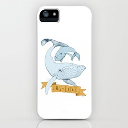 Big Love (gold and blue) Humpback Whales iPhone Case