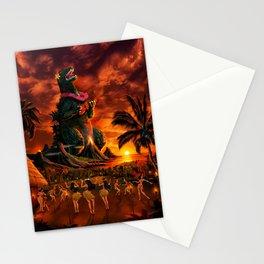 Rocking the Island - Tiki Art Hula Godzilla Stationery Cards