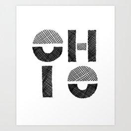 Modern Black and White Ohio Art Print