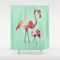 flamingos Shower Curtains featuring FLAMINGOS by ArtSchool