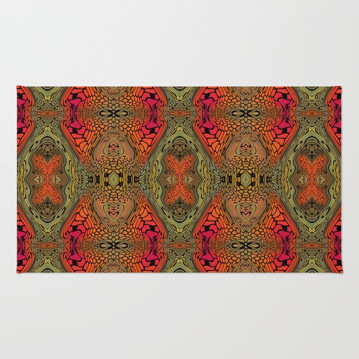 Whimsical pink, orange and green retro pattern  Rug
