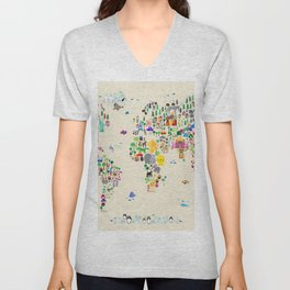 Animal Map of the World Unisex V-Neck