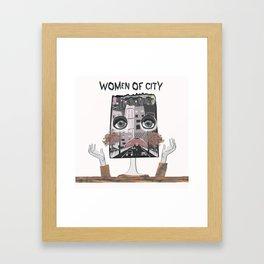 Women of city White Framed Art Print
