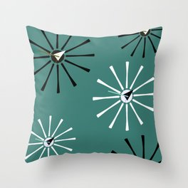 Fifties Kitchen Pattern Emerald Throw Pillow