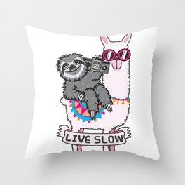 Sloth and Llama Throw Pillow