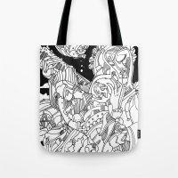 cyberpunk Tote Bags featuring A Cyberpunk Madonna by Davide Caviglia