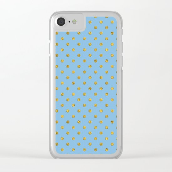 Gold polkadots on sky blue backround Clear iPhone Case