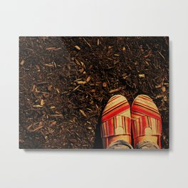 Shoes in the Mulch Metal Print