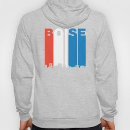 Red White And Blue Boise Idaho Skyline Hoody