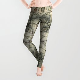 abstract flowers hand drawn and  kaleidoscope mandala Leggings