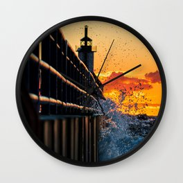 Sunset SPLASH At The Lighthouse Wall Clock