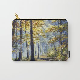 Painting beautiful forest with bright sun shining by Rybakow Carry-All Pouch