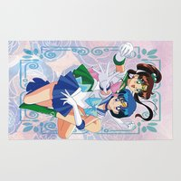 sailor jupiter Area & Throw Rugs featuring Sailor Mercury and Sailor Jupiter by Neo Crystal Tokyo