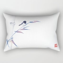 Blue bamboo tree and little bird hand drawn with ink in minimalist style on white background. Rectangular Pillow
