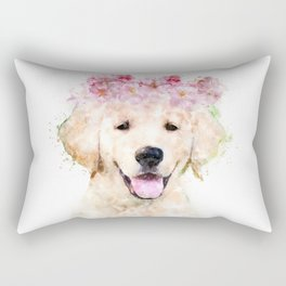 Watercolor Labrador with flowers,  happy puppy, nursery decor, Dog Painting Rectangular Pillow