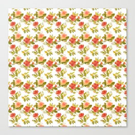 Roses and Peonies Floral Pattern Canvas Print