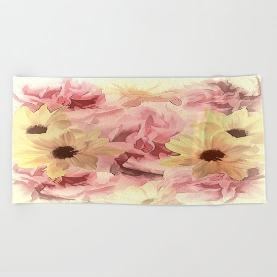 Soft Hazy Day Spring Floral Bouquet Beach Towel