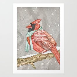 Cardinal in Blue Art Print