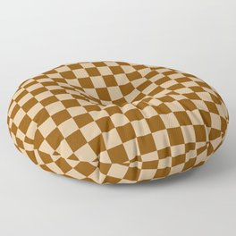 Tan Brown and Chocolate Brown Checkerboard Floor Pillow