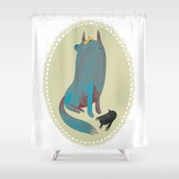 dog Shower Curtains featuring dog by yohan sacre