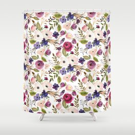 Violet pink yellow green watercolor modern floral pattern Shower Curtain
