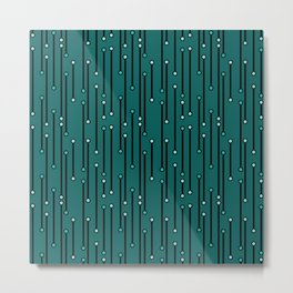 Dotted Lines in Teals Metal Print