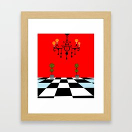 A Chandler with Topiary with Red wall paper Framed Art Print