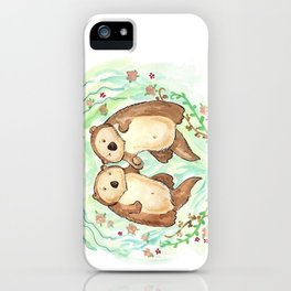 Otters Holding Hands iPhone Case