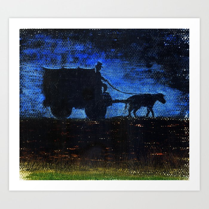 Carriage at sunset Art Print