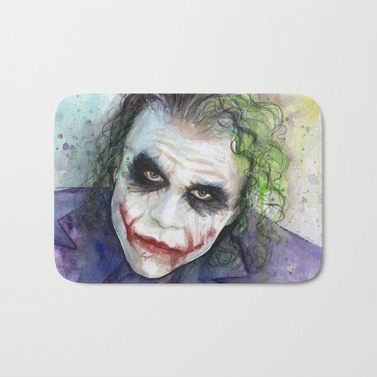 The Joker Watercolor Bath Mat